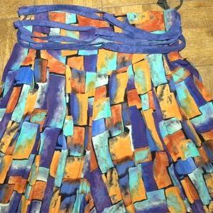 Vintage Pants - VTG 90s Wide Leg Palazzo Pants Colorful Rayon